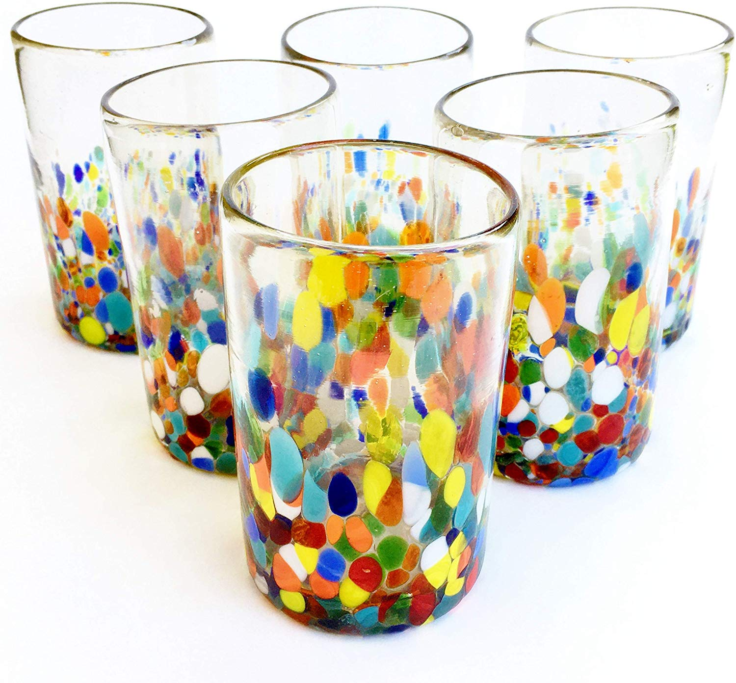 MEXICAN GLASSWARE / Clear & Confetti drinking glasses